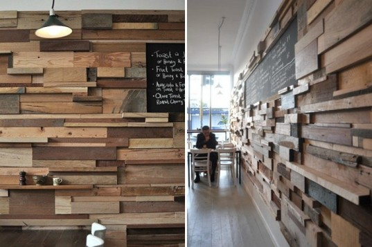 Timber in restaurant design for Local reclaimed wood