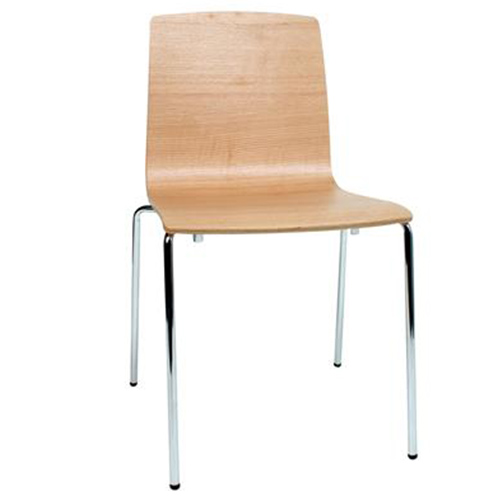 Brooklyn Timber Veneer Chair with 4 Leg Chrome Base