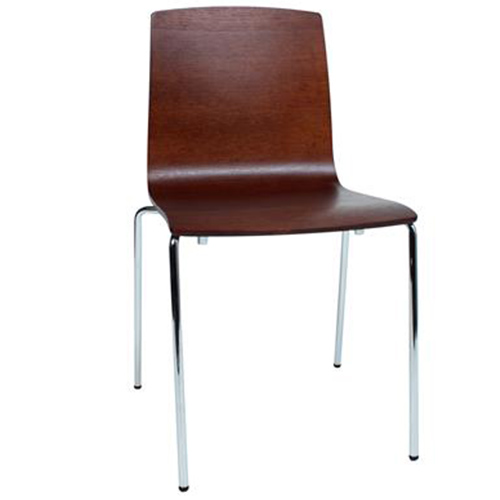 Brooklyn Timber Veneer Chair with 4 Leg Chrome Base