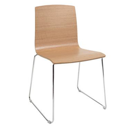 Brooklyn Timber Veneer Chair with Chrome Sled Base