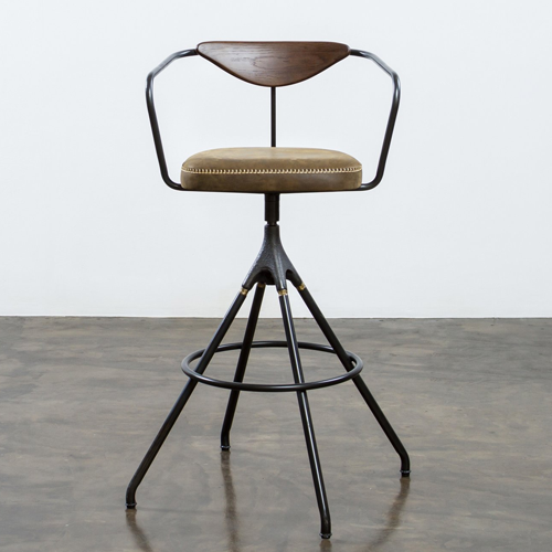 Akron Bar Stool with Backrest and Leather Seat